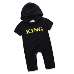 KING Letter Printed Baby Boys Long Sleeve Hooded Baby Rompers For 0-24M