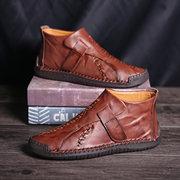 Menico tamanho grande homens mão costura Gancho botas de tornozelo de couro de loop