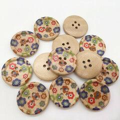 100Pcs 25mm Redondo De Madera Pintado Botones Costura Que Hace Punto Materiales DIY