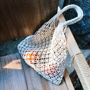 Women Bucket Bag Handmade Cotton Rope Net Pocket Beach bag Swim Storage Bag