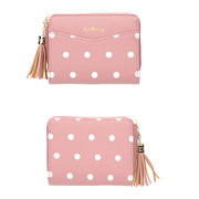 Women Short Coin Purse Dot Wallet Tassel Card Holder