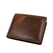Genuine Leather Causal 6 Card Slot Short Wallet Business Coin Wallet For Men