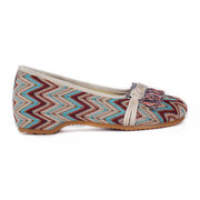 Colorful Stripe Chinese Knot Loafers