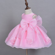 Big Bow Beading Flower Girls Wedding Party Formal Dress For 0-24M