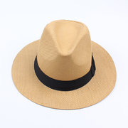 Women's Men  Summer Casual Vacation Straw Bowler Boater Sun Hat Round Flat Caps Brim Summer Beach