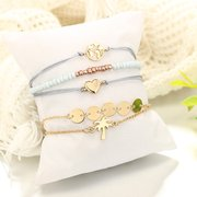 Bohemian Weave Bracelet Set 5 Piece Rice Beaded Bracelet Coconut Tree Love Bracelet For Women