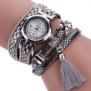 Montre-bracelet mode multirang motif serpentine bracelet en cuir Multicouche montre femme décontractée avec quartz pour femme
