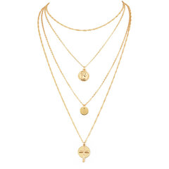Bohemian Multi-layer Round Necklace Cross Pendant Alloy Chain Charm Necklace Ethnic Jewelry