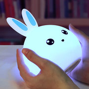 DecBest Cute Rabbit Night Light Touch Color Change USB Charging LED Lamp Home Decor