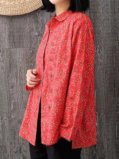 Manica lunga a maniche lunghe con stampa floreale vintage Camicia