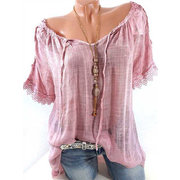 Women Lace Crochet Short Sleeve Solid Color Shirt