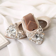 Leather Bowknot Shiny Crystal Folded Slip On Flat Egg Roll Shoes