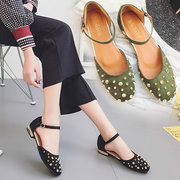 Rivet Solid Buckle Strap Flat Casual Shoes For Women
