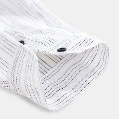 Mens de algodão de linho listrado bolso manga comprida Collarless respirável Casual camisas