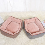 2 Colors Short Plush Pet Sofa Bed with Cushion Puppy Sleep Bed Mat