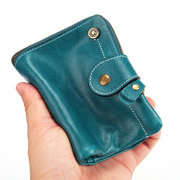 Women Vintage High-end Genuine Leather 14 Card Slot Wallet Multi-function Coin Purse