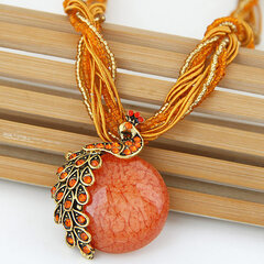 Bohemian Pendant Necklace Handmade Beaded Tessal Vein Gemstone Charm Ethnic Jewelry for Women