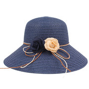 Women Summer Solid Color Foldable Beach Straw Hat Outdoor Sunshade Fisherman Hat