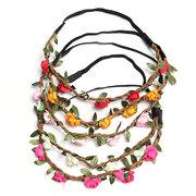 Boho Garland Weave Floral Blumen Hochzeit Braut Party elastisches Haarband Stirnband