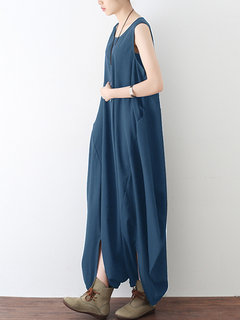 Irregular Sleeveless Loose Back Zipper Baggy Casual Jumpsuits