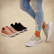 Large Size Women Sports Walking Sequined Lace Up Flat Sneakers