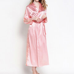Patchwork Lace Long-sleeved Smoothly Robes Home Gowns