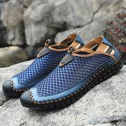 Grande tamanho homens mão costurando malha água sapatos tênis antiderrapante ao ar livre