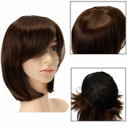 Mulheres Short Brown Straight Bob Hair Peruca completa Cosplay Party Perucas 3 cores