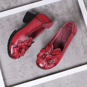 SOCOFY Retro Handmade Flowers Splicing Pattern Mid Heel Leather Shoes