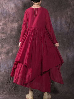 Solid Color Irregular Long Sleeve Pleated Cotton Linen Dress
