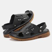 Homens Couro Genuíno Fechado Toe Non Slip Super Confortável Sandálias Casuais