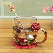 Enamel Glass Rose Flower Tea Cup Set Spoon Coffee Cup Cold Drinks Beer Mug