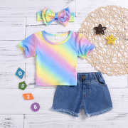 3Pcs Rainbow Print Baby Short Sleeve Top Shorts Set For 0-24M