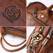 Men Vintage Genuine Leather Handbag Briefcase Messenger Bag Travel Laptop Bag