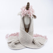 Cute Animal Shaped Girls Knitted Scarves with Pockets Design For 3Y-8Y