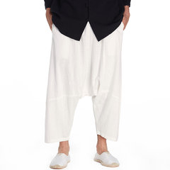 Mens Casual 100% Cotton Calf Length Harem Pants Solid Color Baggy Loose Fit Wide Legs Pants
