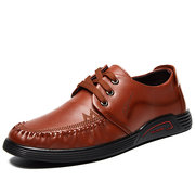 Men Stitcing Moc Toe Lace Up Casual Genuine Cow Leather Shoes