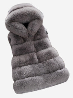 Fashion Sleeveless Hooded Faux Fur Vest Coat For Women