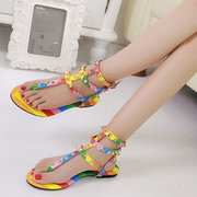 Large Size Colorful Roman Buckle Rivet  High Top Clip Toe Flat Sandals