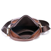 Genuine Leather Oil Wax Business Crossbody Bag Casual Shoulder Bags For Men