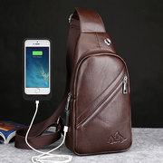 USB Port Business Chest Bag Pu Leather Crossbody Bag Sling Bag For Men