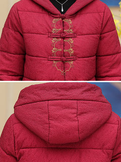 Vintage Embroidered Hooded Cotton Coat for Women