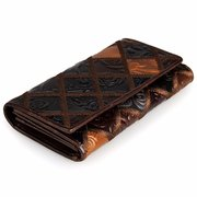 Women Vintage Texture Surface Flower Pattern Multi-slots Wallet Card Holder Coin Bags