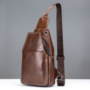 Genuine Leather Business Casual Crossbody Bag Chest Bag For Men