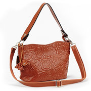 Women Floral Embroidery Leather Crossbody Bag Bucket Bag