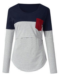 Maternity Striped Patching Contrast Color Multi-functional Nursing Tops