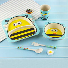 5pcs Children Bamboo Fiber Tableware Cartoon Baby Dishes Fork Spoons