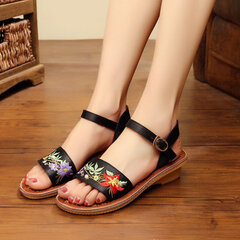 Embroidered Breathable Palm Fibre Metallic Folkways Flat Sandals