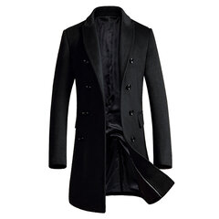Mens Long Woolen Coat Slim Fit Thickened Warm Double-breasted Casual Trench Coat