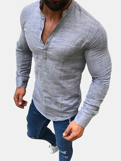 Mens Linen Casual Long Sleeve Solid Color Stand Collar T-Shirt